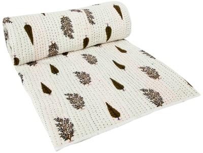 Fira Block Printed Kantha Quilt  Single