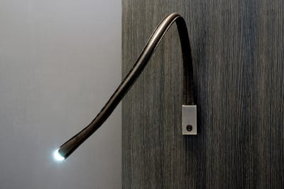 Flexiled L90 Wall Light Satin nickel w/switch, Black leather