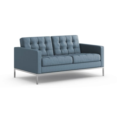 Florence Knoll 2 Seater Sofa - Relax Lucca Parco Della Musica LC2410, Polished Chrome