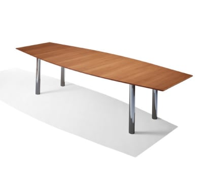 Florence Knoll Conference Table - Graphite Pear, Polished Chrome Base 244 x 101/76 x 71 cm