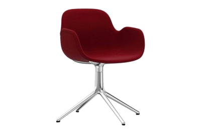Form Swivel Armchair 4L, Fully Upholstered Sørensen Ultra Leather Black Brown - 41590, White Aluminium