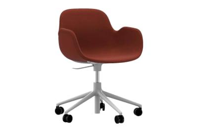 Form Swivel Armchair 5W Gaslift - Fully Upholstered Sørensen Ultra Leather Black Brown - 41590, White Aluminium