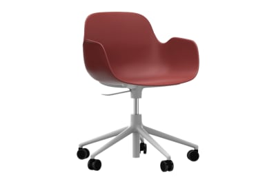 Form Swivel Armchair 5W Gaslift Red, NC White Aluminium