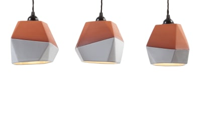 Geometric Terracotta Pendant Set (half-glazed) Set of 3