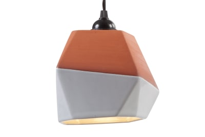 Geometric Terracotta Pendant Shade (half-glazed)
