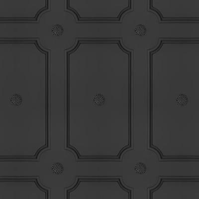 Georgian Dot Panelling Wallpaper SAMPLE - Charcoal Georgian Dot Panelling Wallpaper