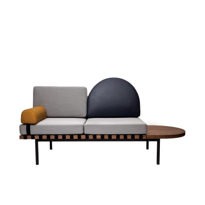 Grid Daybed Steelcut Trio 2 133, Dark blue leather, Mustard leather