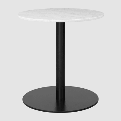 Gubi 1.0 Round Dining Table Ø80, Gubi Metal Brass, Gubi Marble Marrone Emperador