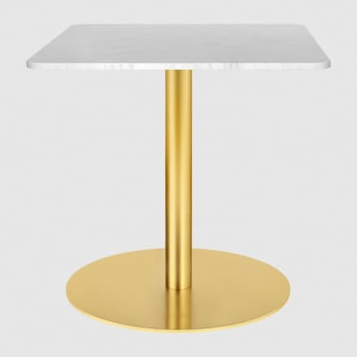 Gubi 1.0 Square Lounge Table 80 x 80, Gubi Metal Brass, Gubi Glass Sand