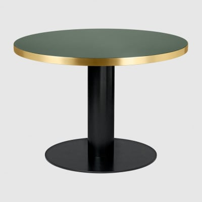 Gubi 2.0 Round Dining Table - Glass Gubi Metal Black, Gubi Glass Bottle Green, Ø110
