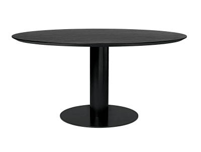 Gubi 2.0 Round Dining Table - Laminate Gubi Metal Brass, Gubi Laminate White, Ø130