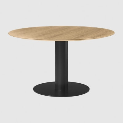 Gubi 2.0 Round Dining Table - Wood Gubi Metal Black, Gubi Wood Oak, Ø110