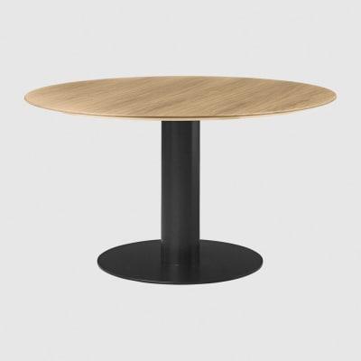 Gubi 2.0 Round Dining Table - Wood Gubi Metal Black, Gubi Wood Oak, Ø110