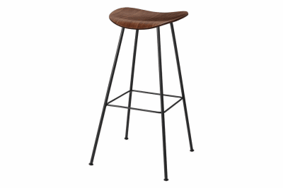 Gubi 2D Counter Stool Center Base - Unupholstered Gubi Wood American Walnut