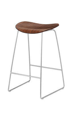 Gubi 2D Counter Stool Sledge Base - Unupholstered Gubi Wood American Walnut, Gubi Metal Chrome