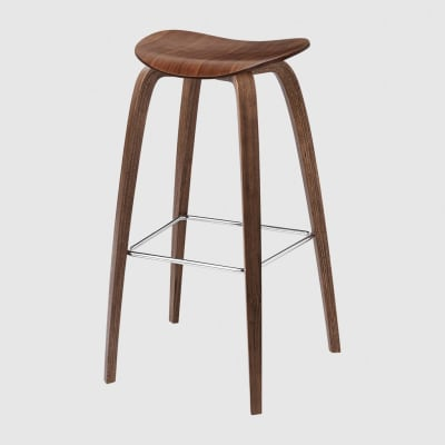 Gubi 2D Wood Base Bar Stool - Unupholstered Gubi Wood American Walnut, Gubi Metal Chrome