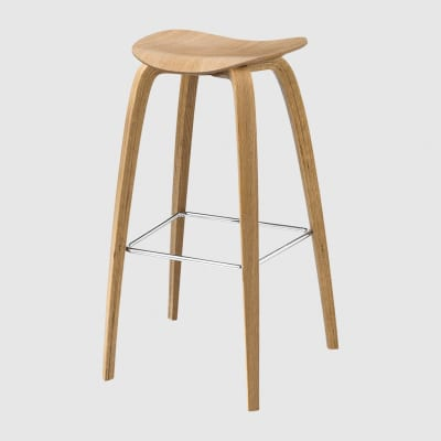 Gubi 2D Wood Base Bar Stool - Unupholstered Gubi Wood Oak, Gubi Metal Chrome