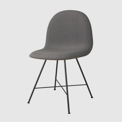 Gubi 3D Dining Chair Center Base - Front Upholstered Gubi Wood Oak, Dunes 21000 Cognac