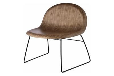 Gubi 3D Lounge Chair Sledge Base - Unupholstered Gubi Wood American Walnut, Gubi Metal Black