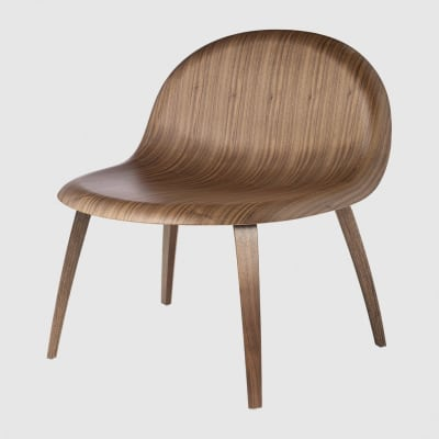 Gubi 3D Lounge Chair Wood Base - Unupholstered Gubi Wood American Walnut