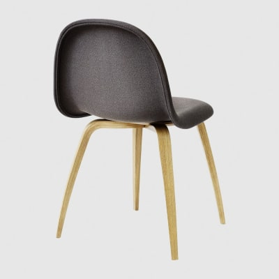 Gubi 3D Wood Base Dining Chair - Fully Upholstered Tyg Eros 1 Wine 1313, Gubi Wood Oak