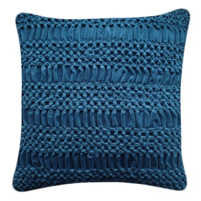 Hand Stitched Striped Flower Signature Cushion Teal
