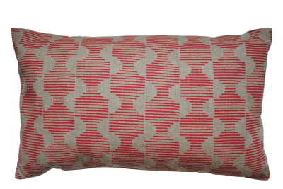 Hoof Rectangular Cushion Pink and Beige