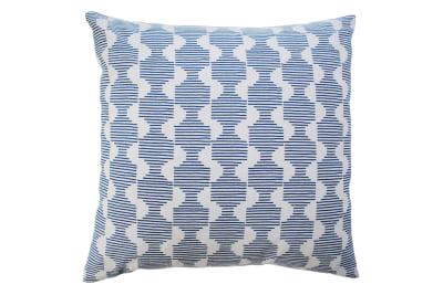 Hoof Square Cushion Dark Blue and Ivory White