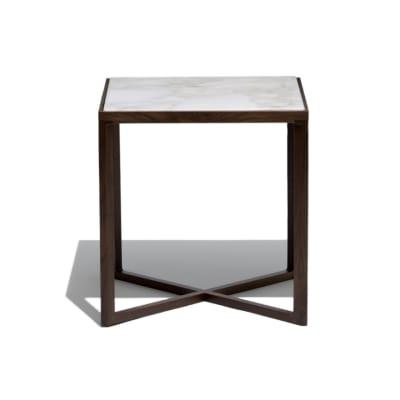 Krusin Side Table 55cm, Danish Blue Lacquer / Satin Marble Calacatta