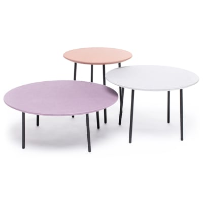 Lago fabric set of 3 tables Misty Rose/Grey Chine/Parma Chine
