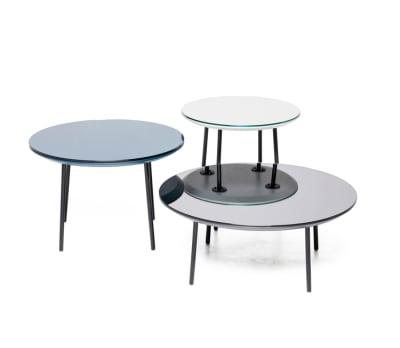 Lago mirror set of 3 tables Oak, Petrol Blue