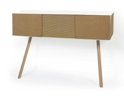 "Leaning sideboard ""Anlehnschrank LS-01 - Stripes"" Oiled oak wood legs (= natural)"