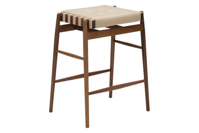 Leather Bar Stool Walnut, Pale Brown