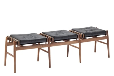 Leather Triple Stool Walnut, Black