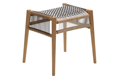 Loom Stool Oak, Black and White Cords