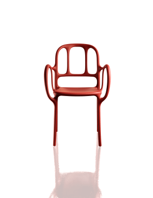 Milà Stacking Armchair - Set of 2 Matt Red
