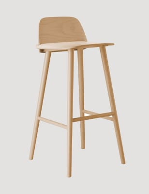 Nerd Barstool Dark Red, low, Lacquered ash