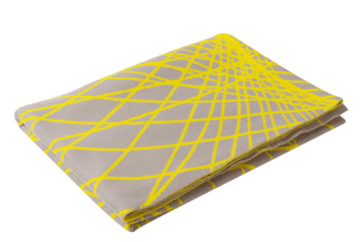 New Wave Merino Throw  Graubeige and Neon Yellow