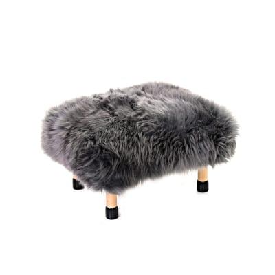 Nia Sheepskin Footstool Slate Grey