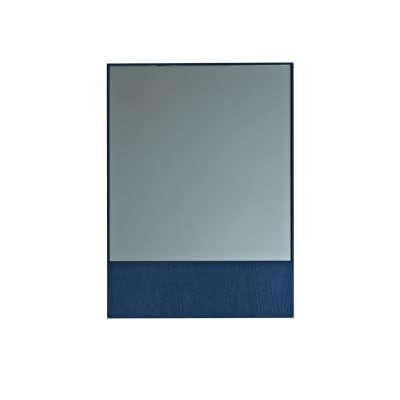 Offset Mirror Rectangle Grey Mirror, Blue Wood