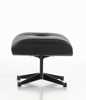 Ottoman Nero Leather Premium nero, 05 felt glides for hard floor