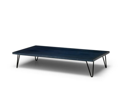 Overdyed Coffee Table Weathered Grey Shell with Ocean Blue Base
