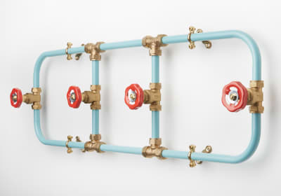 Pipework Coat Rack Blue with Red Hooks