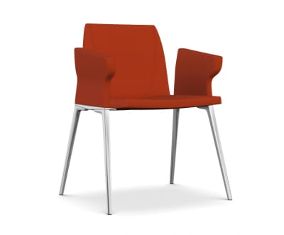 Plate 50 Chair with Armrests A7244 - Field 762 blue, White lacquered aluminium