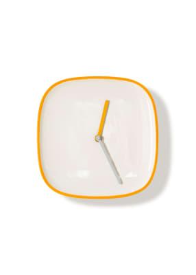 PLATE | Clock White & Orange