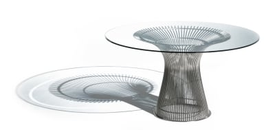 Platner Large Round Dining Table 18k Gold Plated, Marble Verde Alpi