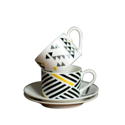 Polygon Coffee Cup and Saucer