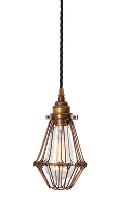 Praia Bronze Industrial Cage Pendant Light Bronze