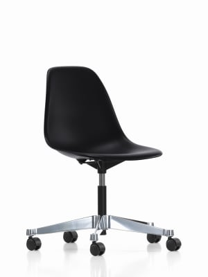 PSCC Eames Plastic Side Chair 03 castors soft - braked for hard floor, 94 moss grey