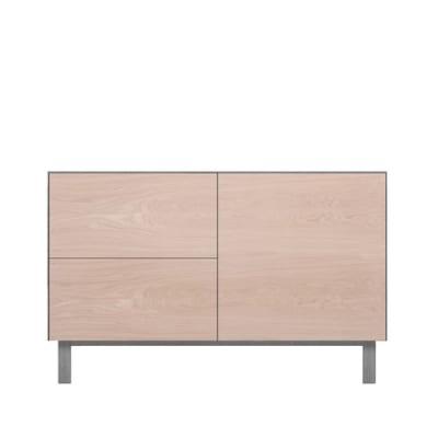Rectangular Cabinet 1 Door & 2 Drawers Oak, Light Grey